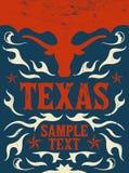 得克萨斯西部葡萄酒的海报-卡片- -牛仔 图库摄影