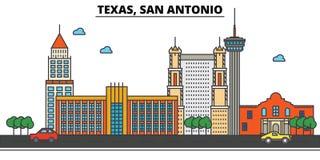 得克萨斯,圣安东尼奥 背景城市设计您地平线的向量 皇族释放例证