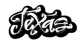 得克萨斯 贴纸 Serigraphy印刷品的现代书法手字法 免版税库存照片