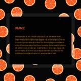 得出与框架空间的橙色切片无缝的样式文本的-例证 库存图片