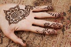 在妇女的手的无刺指甲花艺术 免版税图库摄影