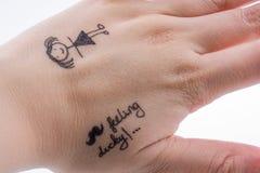 得出的女孩形象在手指技巧 库存图片