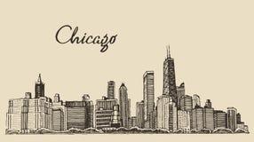 得出的芝加哥地平线大城市板刻传染媒介 皇族释放例证