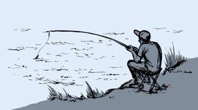 得出花卉草向量的背景 Fisher人 免版税库存图片