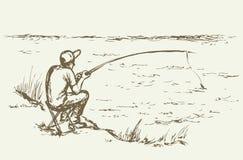 得出花卉草向量的背景 Fisher人 库存图片