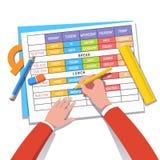 得出课程表的学校教师或学生 库存图片