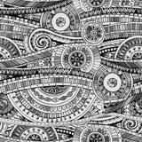得出部族doddle种族样式的原始的马赛克 与几何元素的无缝的背景 黑白版本 免版税库存照片
