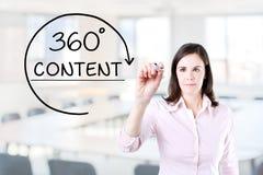 得出360程度的女实业家使在虚屏上的概念满意 办公室背景 免版税库存图片
