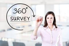 得出360程度的女实业家勘测在虚屏上的概念 办公室背景 库存照片