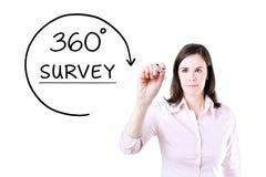 得出360程度的女实业家勘测在虚屏上的概念 图库摄影