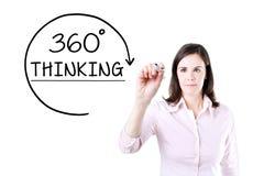 得出360程度的女实业家认为在虚屏上的概念 免版税库存照片