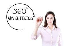得出360程度的女实业家给在虚屏上的概念做广告 库存照片