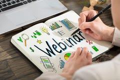 得出Webinar图的企业人 免版税库存图片