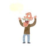 得到与讲话泡影的动画片老人一个惊吓 图库摄影