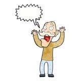 得到与讲话泡影的动画片老人一个惊吓 免版税库存图片