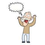 得到与讲话泡影的动画片老人一个惊吓 免版税图库摄影