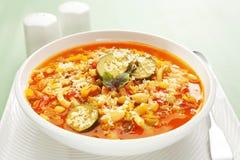 水平蔬菜通心粉汤的汤 免版税库存图片