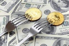 得到新的坚硬叉子变动,在叉子下的物理金黄Crytocurrency硬币的Bitcoin在美元背景 Blockchain Tra 免版税库存照片