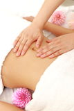 得到胃massage 的妇女 图库摄影
