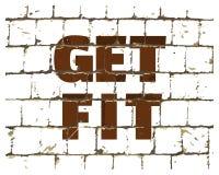 得到适合,体育健身在风格化砖墙打印的健身房行情 您的设计的织地不很细题字 向量 向量例证