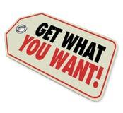 得到什么您想要价牌销售购买购买 免版税图库摄影