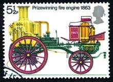 得奖的消防车1863邮票 免版税库存照片