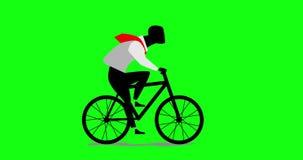 循环商人的动画,乘坐的自行车 库存例证