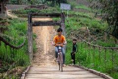 循环在一座桥梁的孩子在越南 免版税图库摄影
