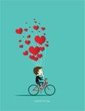 循环在有红色心脏传染媒介的红色自行车的男孩 免版税库存图片