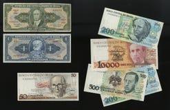 从循环撤出的巴西中央银行样品的钞票 免版税库存照片