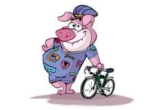 循环猪准备好 库存例证