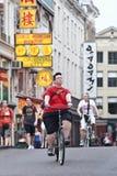 循环的游人在阿姆斯特丹 免版税图库摄影