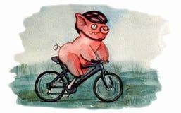 循环的猪字符 皇族释放例证