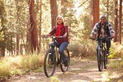 循环通过秋天森林地的资深夫妇 免版税库存图片