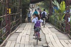 循环从学校的年轻未认出的女孩 免版税库存照片