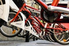 循环-有焦点的被排列的红色自行车在把柄 库存照片