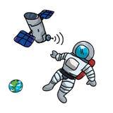 循轨道运行与宇航员和地球的人造卫星 库存例证