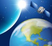 循轨道运行在地球附近的卫星 库存例证