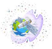 循轨道运行在地球,宇宙飞行,有太阳电池板的航天器太空飞船ISS,人造卫星附近的空间站,有火箭的, 向量例证
