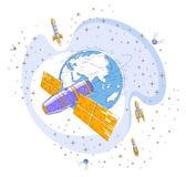 循轨道运行在地球,宇宙飞行,有太阳电池板的航天器太空飞船ISS,人造卫星附近的空间站,有火箭的, 库存例证