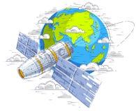 循轨道运行在地球,宇宙飞行,有太阳电池板的航天器太空飞船ISS,人造卫星附近的空间站 r 皇族释放例证