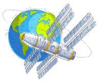 循轨道运行在地球,宇宙飞行,航天器温泉附近的空间站 库存例证