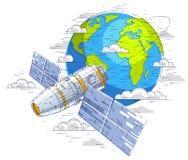 循轨道运行在地球,宇宙飞行,航天器温泉附近的空间站 向量例证