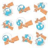 循轨道运行在地球,宇宙飞行,通信温泉附近的卫星 向量例证