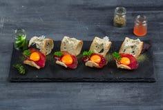 微型三明治食物集合 Brushetta或地道传统西班牙塔帕纤维布午餐桌的 可口快餐,开胃菜 免版税库存图片