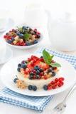 微型乳酪蛋糕用新鲜的莓果,垂直 免版税库存照片
