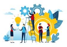 微型人民创造想法对成功 企业例证在白色背景的向量图形 平的动画片缩样字符 向量例证