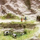 微型人民:两妇女站立在山道路和谈话在吃草母牛附近 宏观照片,浅DOF 免版税库存图片