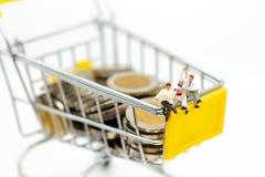 微型人民:在购物车的商人读书在堆硬币 零售业概念的图象用途 库存照片