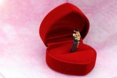 微型人民:站立在红色婚戒箱子的夫妇 免版税库存图片